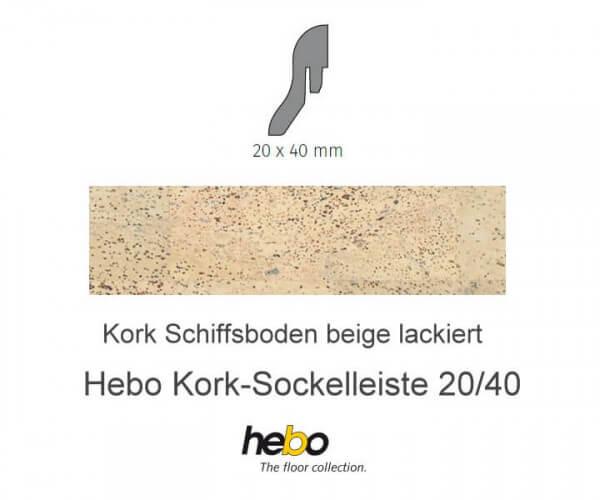Hebo Sockelleiste 20/40 Kork Schiffsboden creme lackiert