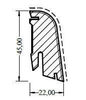 Fußleiste 22/45 Buche gedämpft lackiert Massivholzkern Clipstar · HOCO