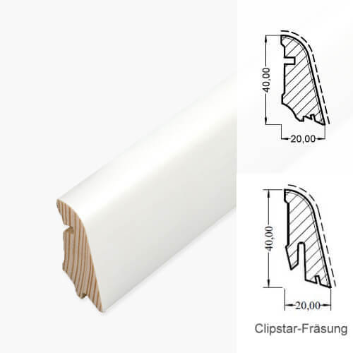 Fußleiste 20/40 weiß Massivholzkern Clipstar· HOCO