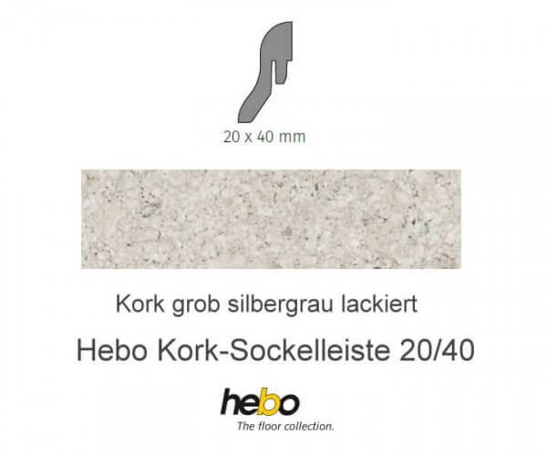 Hebo Sockelleiste 20/40 Kork grob silbergrau lackiert