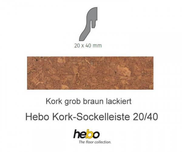Hebo Sockelleiste 20/40 Kork grob braun lackiert