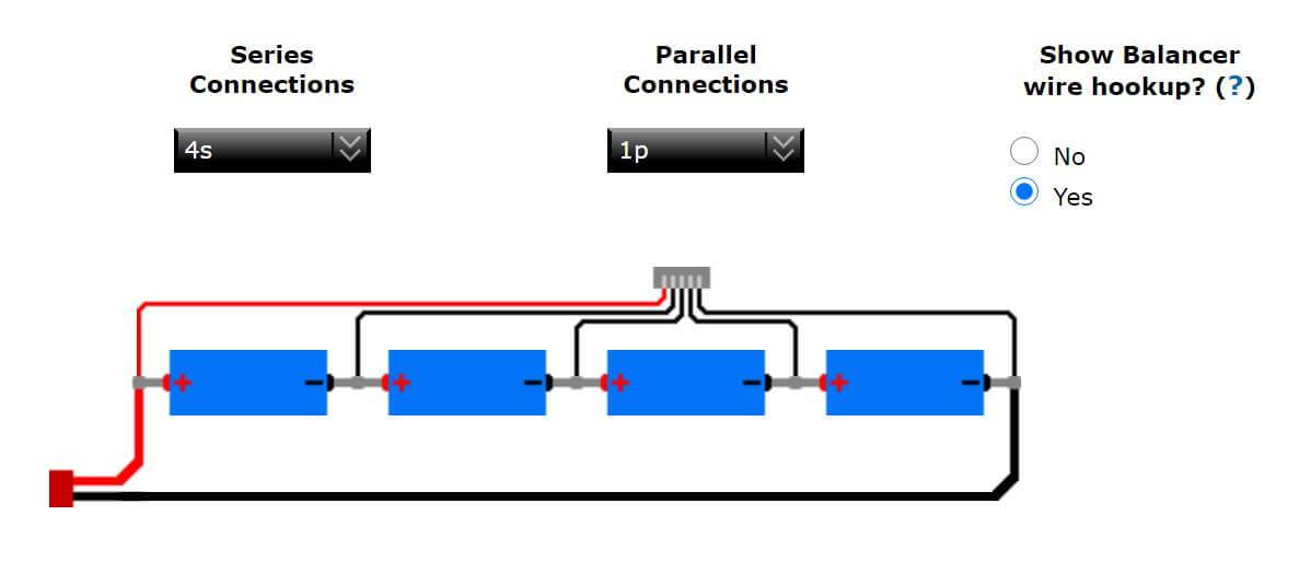 Verkabelung 4S-Akku mit Balancerkabel