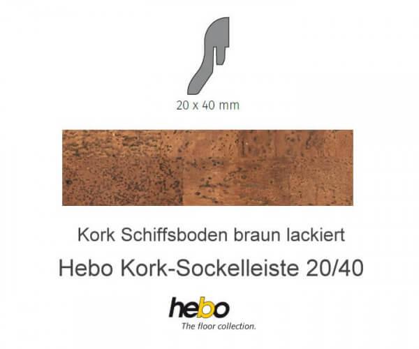 Hebo Sockelleiste 20/40 Kork Schiffsboden braun lackiert