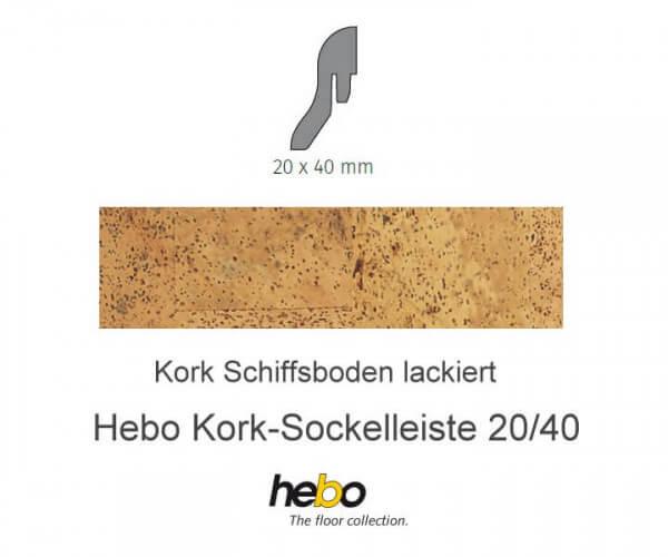 Hebo Sockelleiste 20/40 Kork Schiffsboden lackiert
