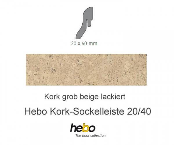 Hebo Sockelleiste 20/40 Kork grob beige lackiert