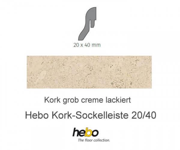 Hebo Sockelleiste 20/40 Kork grob creme
